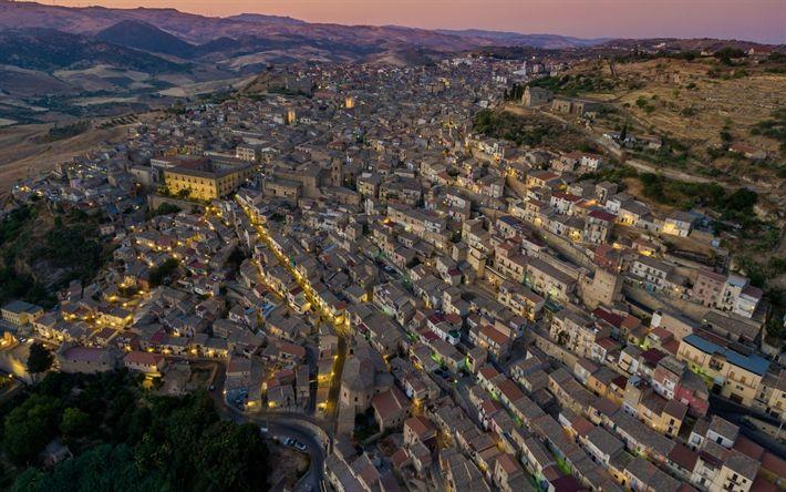 Hämta bilder Sicilien, hus, urban panorama, Leonforte, Italien, staden från ovan