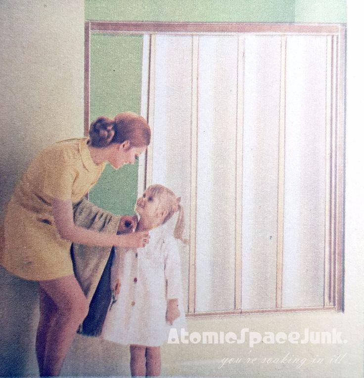 details about midcentury bathtub enclosure shower door folding accordian vintage gold fleck