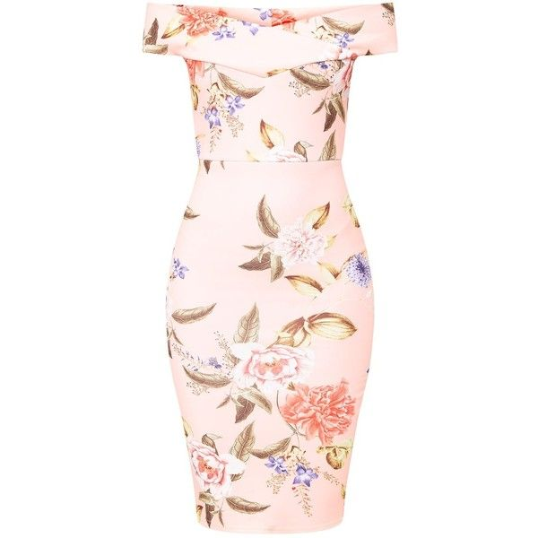 Dusty Blue Floral Bardot Midi Dress (€38) ❤ liked on Polyvore featuring dresses, mid calf dresses, midi day dresses, floral print midi dress, floral print dress and floral midi dress