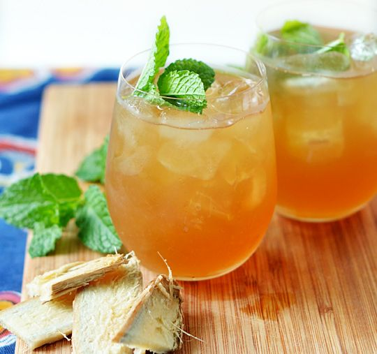 "Iced Green Tea Elixir with Ginger & Lemon... ""The flavor of this tea is perfectly balanced. Gingery spice that lingers and warms the throat, fresh tannins of green tea, bright lemon and... a secret ingredient that adds fruity, sour notes: Pomegranate syrup."" YUM!"