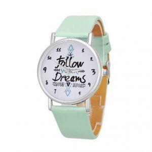 Follow Your Dreams Saat Renk: Nane Yeşili Kayış Renk Seçeneği ile; Silver Parlak Çerçeve #Vintage #Aksesuar #Saat