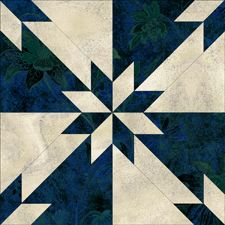 "HUNTER STAR. Free quilt pattern with templates for 12"", 10"", and 6"" blocks. Online calculator for fabric amounts needed for the size of quilt you want to make. http://www.jinnybeyer.com/quilting-with-jinny/design-board/design-board/index.cfm?blockid=207"