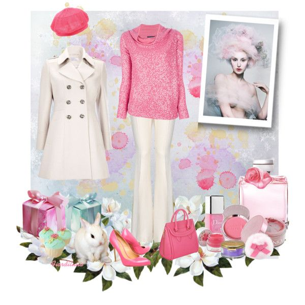 """""""Winter outfit white and pink"""" by fiordiluna on Polyvore"""