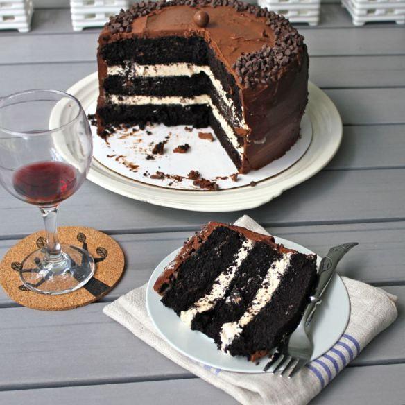 Dark chocolate salted caramel cake