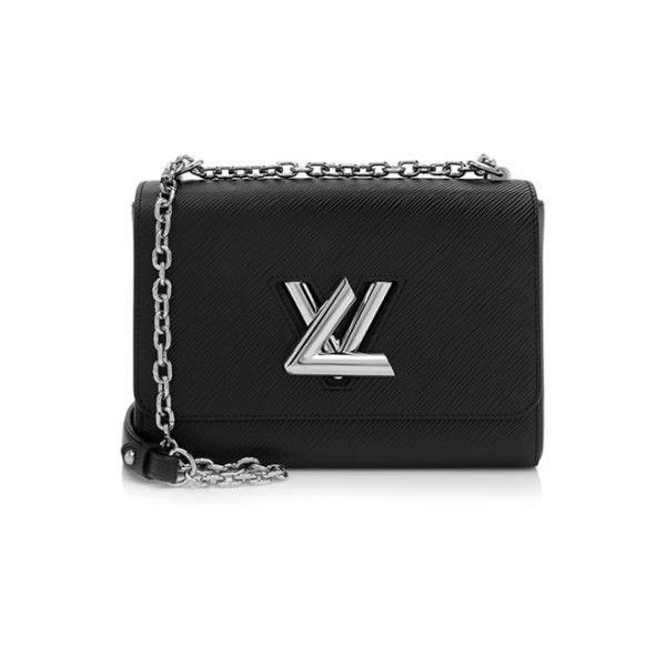 Rental Louis Vuitton Epi Leather Twist MM Shoulder Bag ($400) ❤ liked on Polyvore featuring bags, handbags, shoulder bags, black, leather shoulder bag, over the shoulder handbags, cross-body handbag, chain shoulder bag and leather cross body handbags