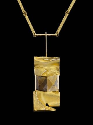 "Björn Weckström for Lapponia Jewelry, ~""Janus Necklace"" in 14k Gold and smoky quartz. | Museum of Fine Arts, Boston / mfa.org"