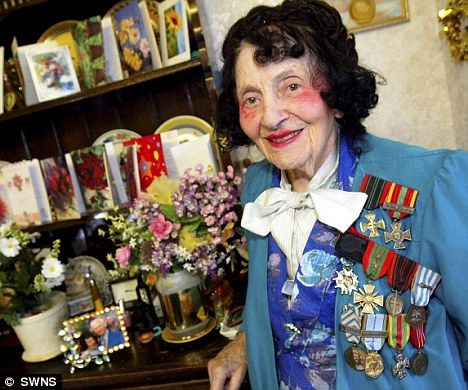 """""""The late Andree Peel aged 105! She saved 102 British and American pilots from the Nazis in WWII."""""""