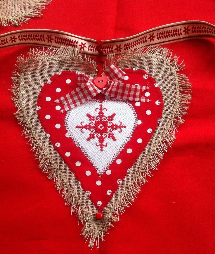 Christmas heart bunting garland Cross stitch