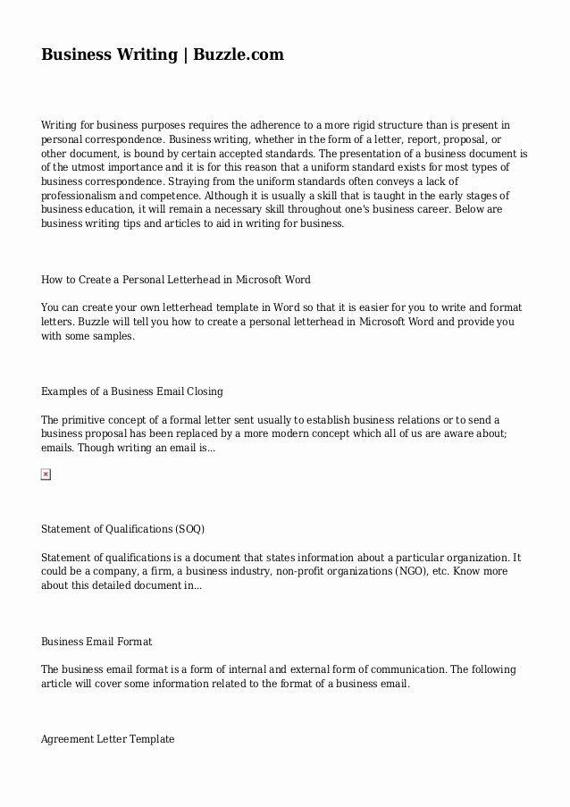 Sample Statement Of Qualification Lovely Business Writing Personal Mission Statement Business Writing Statement