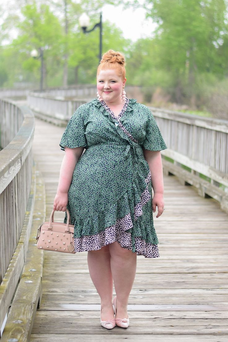 Current Favorite: Eloquii's Contrast Ruffle Wrap Dress from Twelve Oaks Mall in Novi, Michigan. True wrap dress available in single plus sizes 14 to 28.   Plus size fashion dresses, Plus size fashion, Fashion