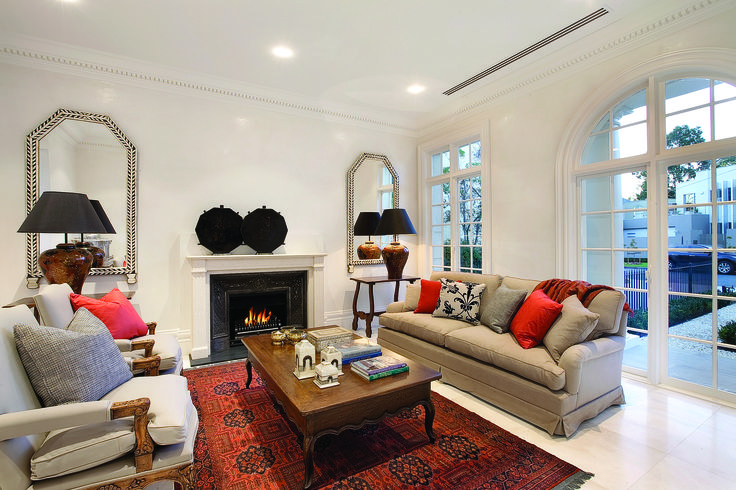 Living Room With Arch And French Doors.  Ravida- Property With Distinction