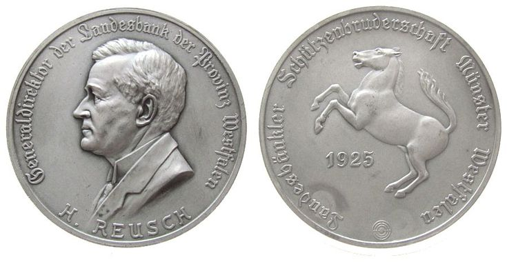 Städte Bronze versilbert Münster - Reusch Heinrich, verliehen von der Landesbänkler Schützenbruderschaft in Münster Westfalen, Büste na Medaille 1925 vz