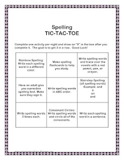 Spelling Tic Tac Toe First Grade Ela Pinterest Tic