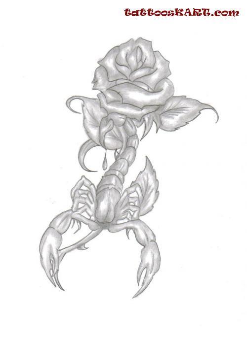Картинки тату скорпиона и цветка