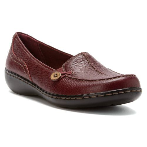 Clarks Ashland Scurry Burgundy Leather Loafers Shoes. Slip On ...