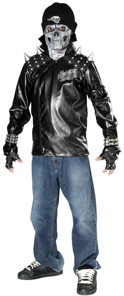 Metal Skull Biker Boys #costume includes pleather jacket with attached EVA shoulder pieces, vinyl mask with attached beanie. Our Boys metal skull costume will be a hit at any #Halloween party or trick-or-treating adventure. Kids and adults alike will rave about this boys Metal Skull Biker costume, which is the perfect costume for any Halloween event