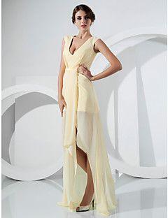 TS+Couture+Formal+Evening+Dress+-+Celebrity+Style+Elegant+Sheath+/+Column+V-neck+Floor-length+Asymmetrical+Chiffon+withSash+/+Ribbon+Side+–+AUD+$+479.05
