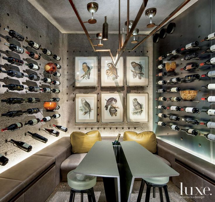 Modern Neutral Wine Cellar With Custom Seating And Table Idea