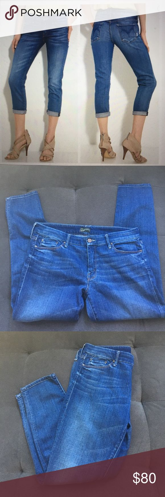 """MOTHER """"The Looker Crop""""  Cry of The Peacock Size 31 Gently used Mother Denim cropped jeans in """"Cry of The Peacock,"""" a medium blue with whiskering. No visible flaws.   About 16.5"""" front waist (laying flat)  About 26"""" inseam About 8.5"""" front rise    For measurements or additional information please comment below! We are fast to respond! Ships same day/next day M-SAT before 3PM PST. Please, no price discussion in comment. No trades, thank you! We accept reasonable offers using the offer button…"""