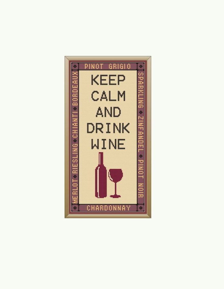 Keep Calm and Drink Wine Cross Stitch Pattern by StitcherzStudio on Etsy