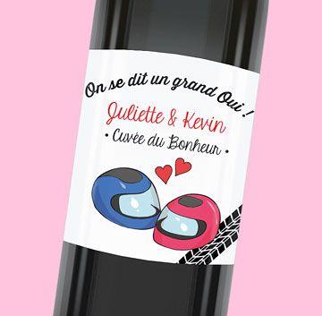 Etiquette de bouteille mariage esprit motard pour boire à la santé des mariés, réf.N300836