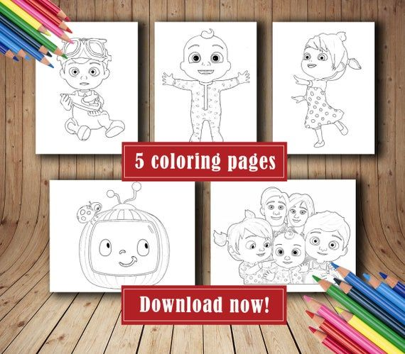 Instant Digital Download Cocomelon Coloring Pages Birthday Decoration Party Supplies Cocomelon Birthday In 2020 Printable Coloring Pages Printable Coloring Coloring Pages
