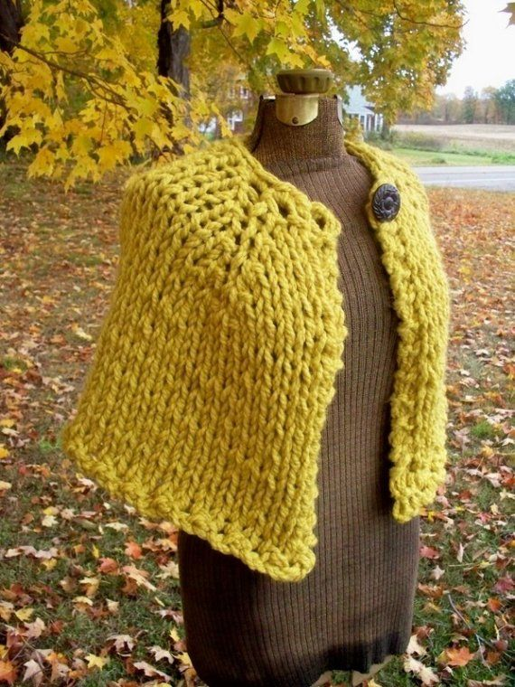 Knit Capelet Chunky Yellow Cape Shawl Wrap Fall by LazyTcrochet, $60.00