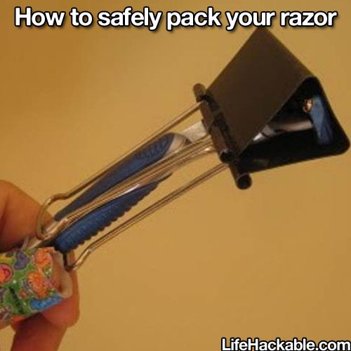 Safety pack your razor. Wow how this will help me with my lil ones.  Love this
