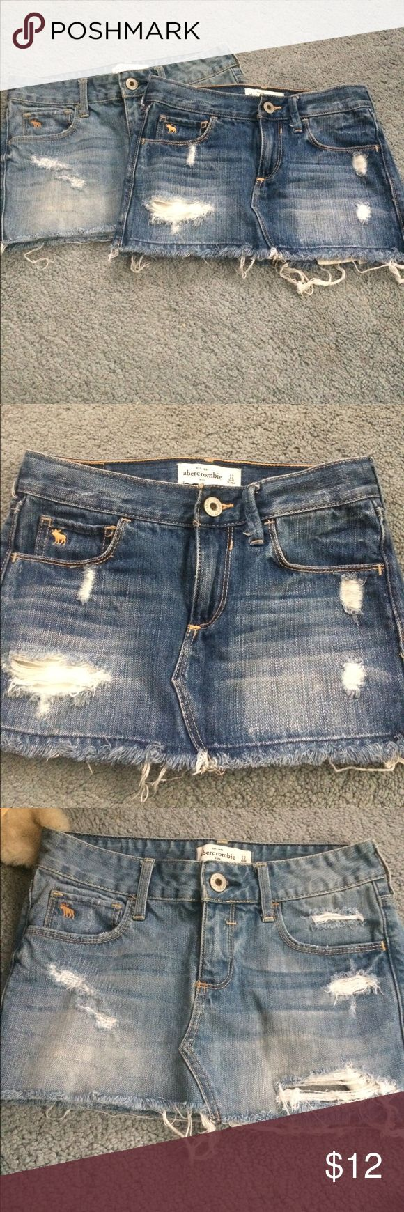 Abercrombie kids jean skirts 12 2 Abercrombie distressed jean skirts kids size 12 only worn a couple times abercrombie kids Bottoms Skirts