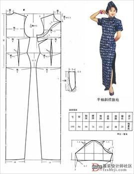 Pattern to make a Chinese qipao