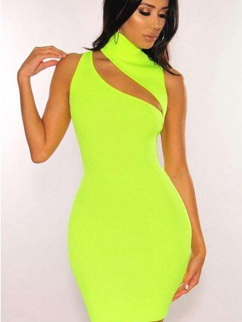 54ce44bd43802 JurllySHe Neon Color Mock Neck Cut Out Cami Dress | Africanmall ...