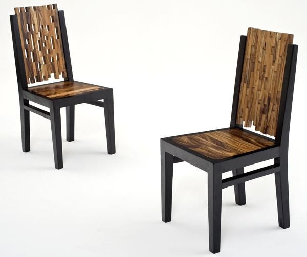 These contemporary wood dining chairs are the perfect balance of rustic modern. Their unique design is perfect for an artist's loft in downtown Chicago. They are modern with just a hint of natural rustic. These dining chairs are an ideal size for a small dining table or to maximize space to pack in the guests