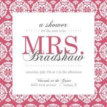 Bridal Shower Ideas - Pink Damask Bridal Shower Invite