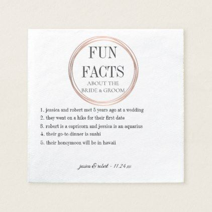 Fun Facts Rose Gold Rings Personalized Napkin - rose style gifts diy customize special roses flowers