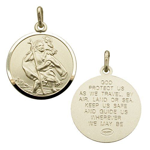 Solid 925 Sterling Silver 20mm Round St Christopher Medal Pendant With Travellers Prayer In Gift Box--25