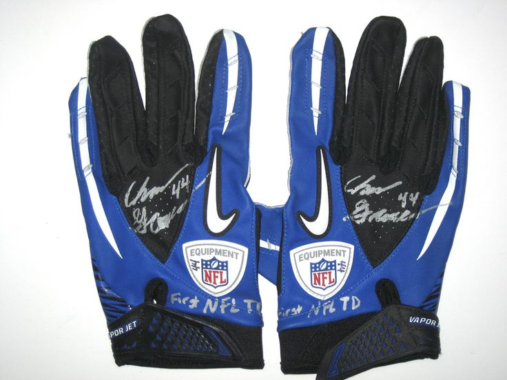 "Chris Gronkowski Dallas Cowboys Game Worn & Signed ""1st NFL TD"" Nike Gloves"