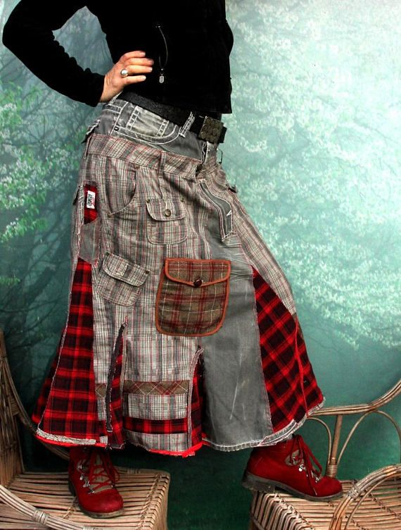 Gray denim and grid boro patchwork skirt. Made from recycled clothing. Remade, reused and upcycled. Very useful and comfortable. Hippie boho. One of a kind. Size: M-L (european 38-40) you can wear it on waist level or hips level and regulate with belt. Uper line (belt) (waist level or hips