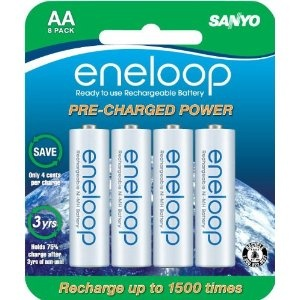 #5: Sanyo NEW 1500 eneloop 8 Pack AA Ni-MH Pre-Charged Rechargeable Batteries.