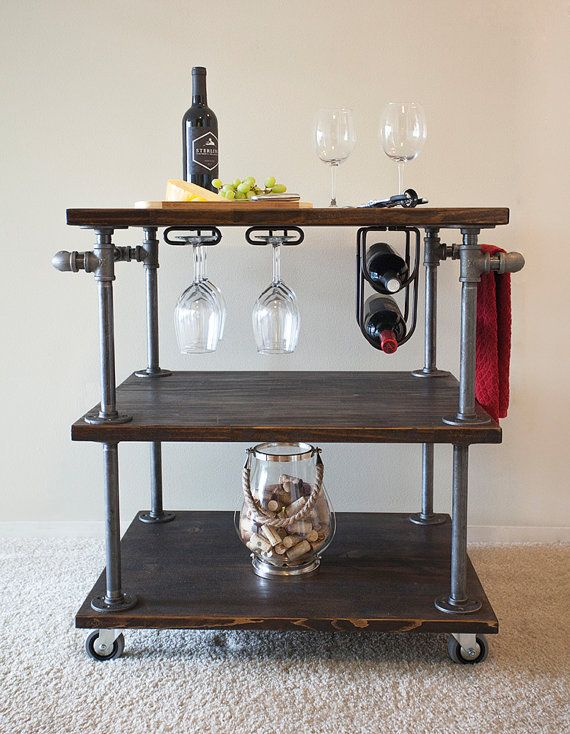 Industrial Pipe Wine / Bar / Kitchen Cart with Built-In Wine Glass Holder and Wine Bottle Holder
