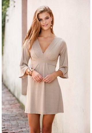 Kimono Sleeve V-Neck Dress