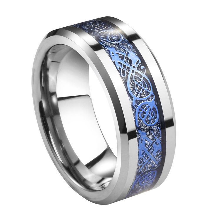 Queenwish 8mm Tungsten Carbide Ring Silver Meteorite Inlay Blue Celtic Dragon Wedding Bands Size