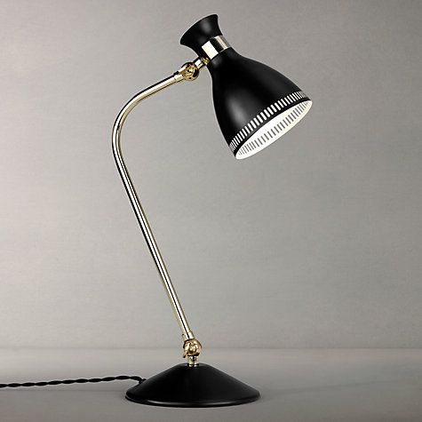 John Lewis Vesper Task Table Lamp, Black/Brass