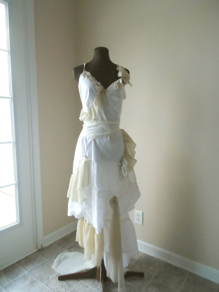 Boho tattered wedding gown beach pixie shabby chic ecru for Boho country wedding dress