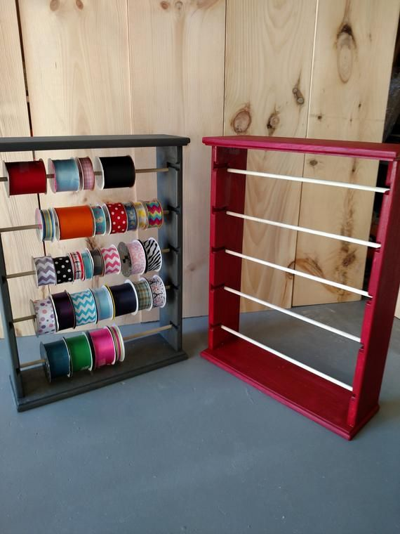 Ribbon Spool Rack Organizer White Black Redgrey Free Etsy