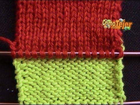 Dos agujas: tejiendo con varios colores de lana a la vez - YouTube