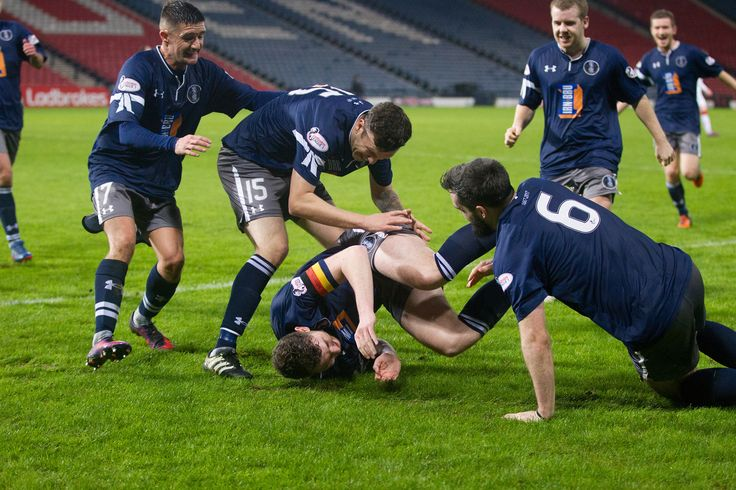Queen's Park players celebrate Ryan McGeever's goal during the Ladbrokes League One game between Queen's Park and Airdrieonians.