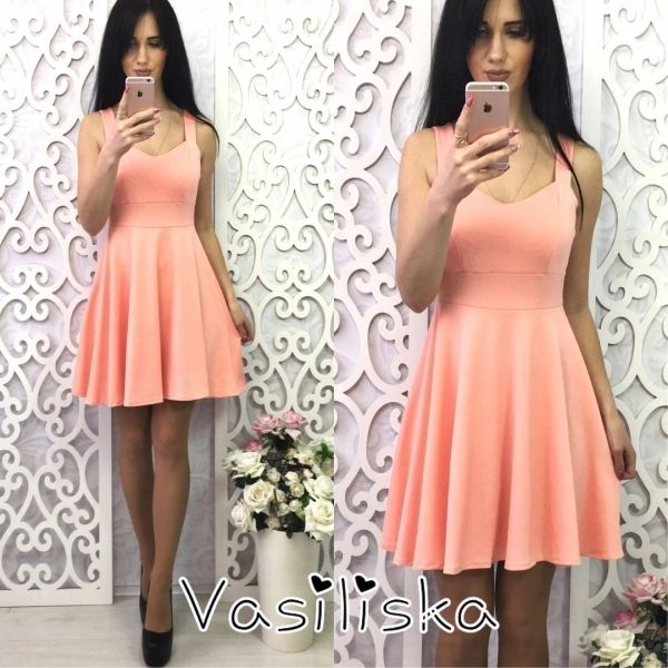 Женский трикотажный короткий сарафан юбка-клеш персик
