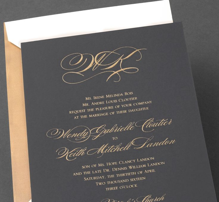 Lovely Vera Wang Pewter Wedding Invitation With A Gold Monogram.Available At  Honey Paper.