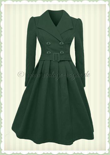 Hearts & Roses 50er Jahre Vintage Mantel - Swing Coat - Teal Grün