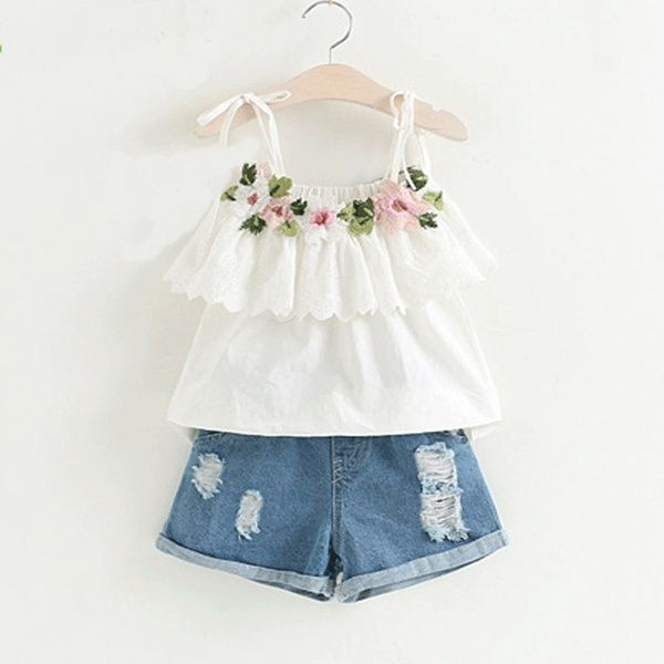 9089a5d4e83 Toddler Pretty Flower Decor Ruffled Strap Top and Frayed Denim Shorts Set  for Toddler Girl and